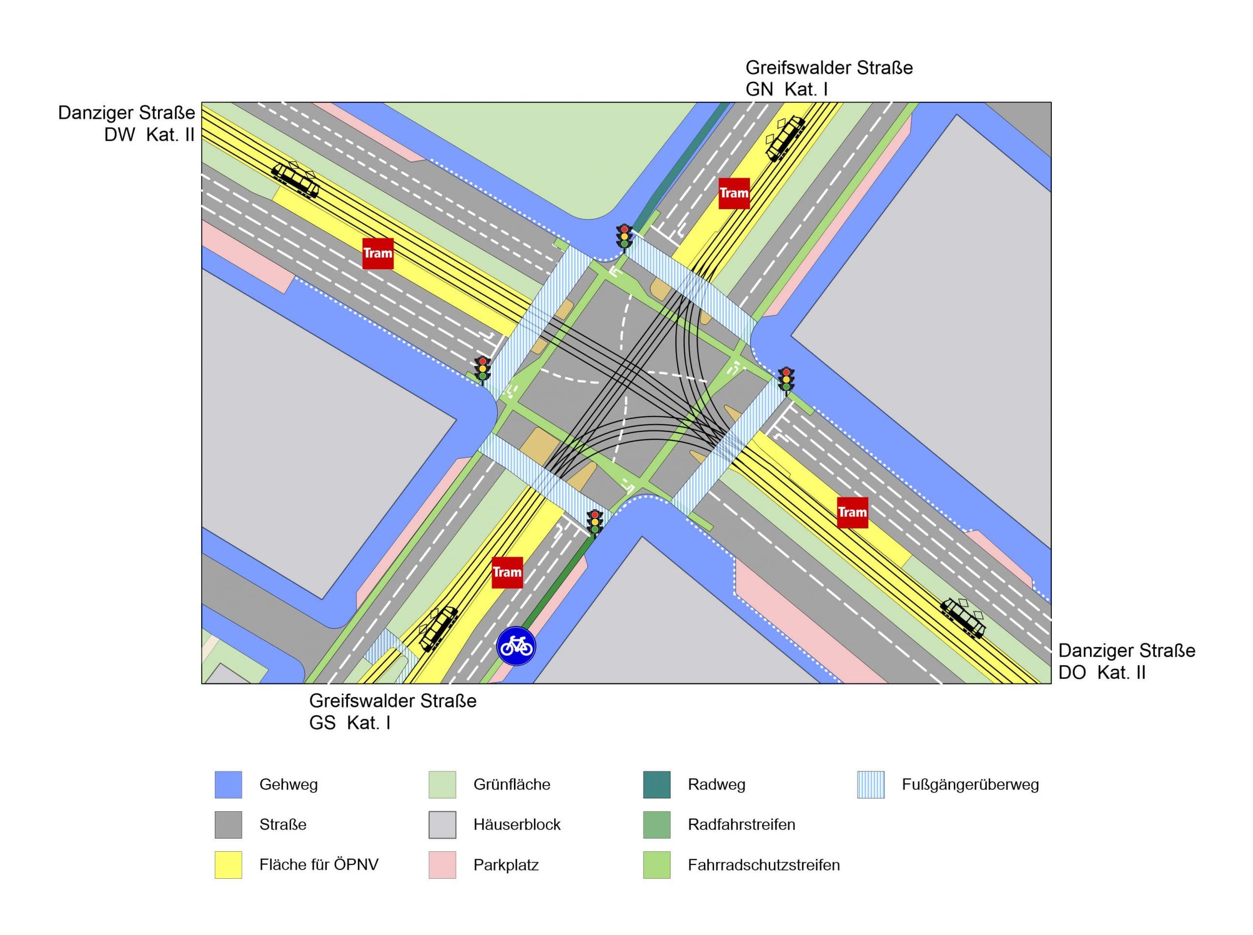 Die Karte stellt den Aufbau der Kreuzung Greifswalder Straße / Danziger Straße dar. Dabei handelt es sich um einen großen Knotenpunkt mit je mindestens drei Fahrstreifen je Richtung und Tram-Verkehr. Die aufgetretenen Konflikte wurden in der Karte nach ihrer genauen Lage und der Art der Konflikte eingetragen. So sind besonders kritische Bereiche der Kreuzung und häufige Konfliktursachen leicht ersichtlich. Es gibt drei Arten von Konflikte: das Einhalten der Straßenverkehrsordnung, die nicht angemessene Verkehrsinfrastruktur oder Probleme im Verkehrsfluss.